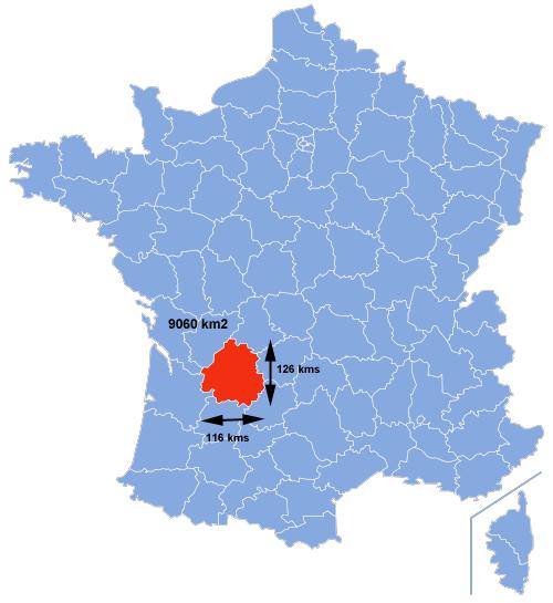 La superficie de la Dordognee